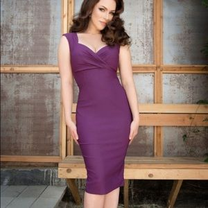 Pinup Couture Erin Wiggle Dress in Plum. Sz XS